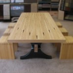 maple bowling alley arch-trestle table