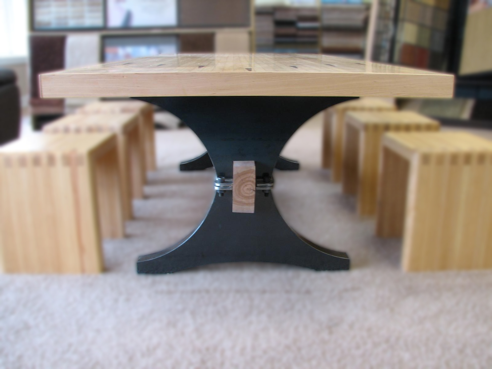 Maple Bowling Alley Arch Trestle Table